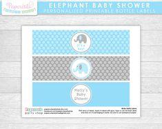 Elefante tema bebé ducha etiquetas de por PapercutsPartyShop