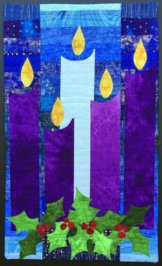 Christmas Banners, Christmas Art, Christmas Decorations, Church Banners Designs, Cross Quilt, Advent Candles, Advent Wreath, Banner Design, Quilting Projects