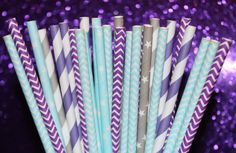25 Paper Straw Disney FROZEN Party Paper by GlitterDaisyShop, $4.00