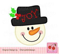 Christmas Snowman JOY, Winter Snowman, Snowman Digital Applique CH0074 -4x4 5x5 6x6 inch-Machine Embroidery Applique Design