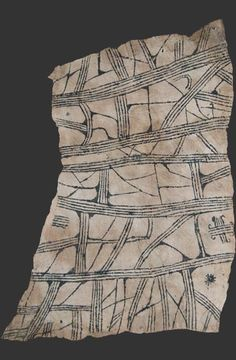 Mbuti pygmy loincloth textile, bark cloth painting, Ituri rain forest, Kongo, 20th cent.