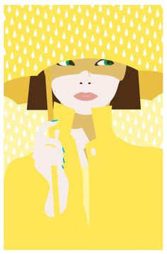 Ladies Umbrella, Rain Umbrella, Ideas Scrapbook, Heart Illustration, Yellow Art, Female Art, Collage Art, Vector Art, Pop Art