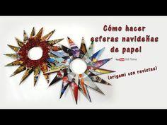 Cómo hacer esferas navideñas de papel (origami con revistas) - How to Make Christmas Paper Spheres - YouTube