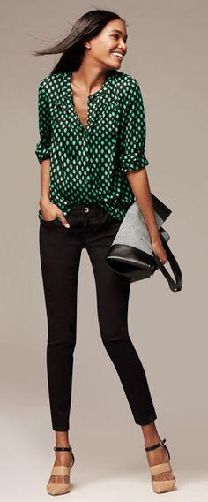 Green Bold Dot Blouse, Black Skinny Jeans, Color-block Caitlin Pump