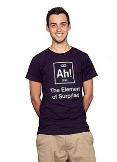 d93c3578 Amazon.com: Rocket Factory AH the ELEMENT OF SURPRISE Men's T-shirt:  Clothing