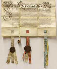 German document, dated 1674, possibly a certificate to honour Dr. Francesco Vertema, with a border of scrolling penmanship, with four attached silk ribbons, three with boxwood containers, two with wax seals, sight: 20.75''h x 24.5''w