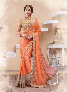 Orange Georgette Party Wear Saree 66890