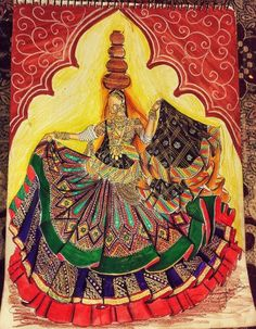 Fashion Design Drawings, Fashion Sketches, Fashion Painting, Fashion Art, Fashion Illustration Dresses, Art Diary, Angel Pictures, Lehenga Collection, Indian Art Paintings