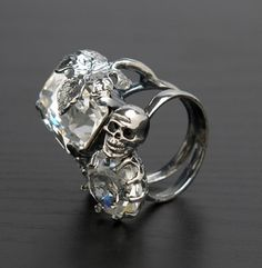 skull double diamond ring is it weird that this is the kind of engagement ring i - Skull Wedding Ring Sets