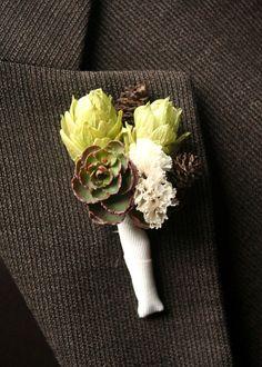 Boutonniere, succulents, hops and alder cones. $15.00, via Etsy.