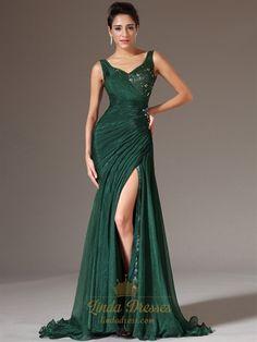 Emerald Green Chiffon V Neck Beaded Prom Dress With Side Draped Bodice