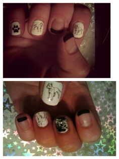 Pitbull design nails...(just got done. I still have to clean up the edges). www.nailthins.com ... And the middle finger was my first attempt at water swirl nail design. Not great but I will get better.