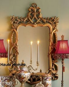 """Horchow LARGE 48"""" VICTORIAN FLORAL Scroll ORNATE Wall Foyer VANITY Mirror Gold  #Traditional"""