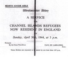 An evacuee's ticket for the Channel Islands service at Westminster Abbey on 30 April 1944. Courtesy of Sir Geoffrey Rowland