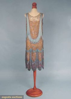 Search Past SalesBEADED LACE & SILK DRESS, MID 1920s