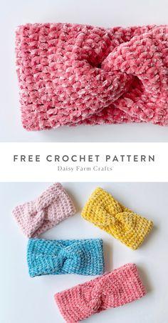 Crochet Headband Free, Easy Crochet Hat, Crochet Eyes, Crochet Twist, Crochet Diy, Thread Crochet, Crochet Gifts, Crocheted Headbands, Crochet Stitches Patterns