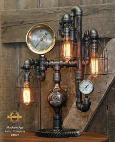 Steampunk Industrial Lamp / Shawn Carling / Boston / Steam Gauge / Lamp #1822