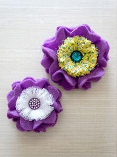 *Contact us for Made To Order* ~ LavenderSky Kids Brooch & Hairclip Pair ~ A pair of purple felt flowers with white tulle and turquoise polka dot yellow fabric, finished with a clear purple rhinestone piece and a dark emerald green rhinestone embel...