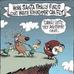 Santa flying reindeer