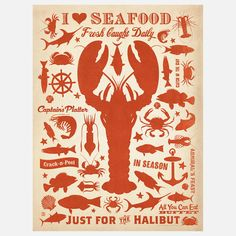 Cast a net of vintage style with this Lobster Print from Anderson Design Group. A retro illustration of a red lobster takes front and center, surrounded by fellow crustaceans and fish, harking back to a simpler time while beckoning you to the local crab shack.