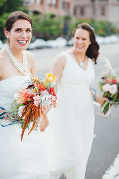 Bridal bouquets with a mix of flowers in a variety of colors and textures | @firstmatephoto | Brides.com