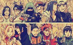 Neji, Tenten, Shino, Kiba, Hinata, Naruto, Sakura, Sasuke, Shikamaru, Choji, Ino, Lee
