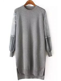 Round Collar Long Sleeve Lace Splicing Jumper #womensfashion #pinterestfashion #buy #fun#fashion