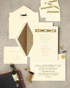 Puttin' on the ritz with a black-tie affair? Take a look at this swanky engraved invitation suite from Cartier, modeled on two bracelets from its 1929 and 1936 collections. The bejeweled motifs and geometric-gone-glam monogram are an homage to the interwar period that produced the 1929 song—not to mention flappers, the Empire state building, and some seriously great literature.Price upon request, cartier.com.