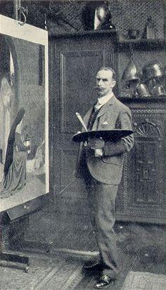 Edmund Blair Leighton in his studio