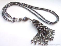 """Купить Сотуар с кистью из жемчуга """"Жоан"""" жемчуг серебро - натуральные камни, украшение на шею"""