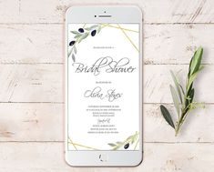 Electronic Save the Date Template, Olive Greenery Wedding Date Card, Digital Smartphone Invitation Template, Instant Download. #weddings #invitation #green #bridalshower #gold #rustic #olive #greenerywedding