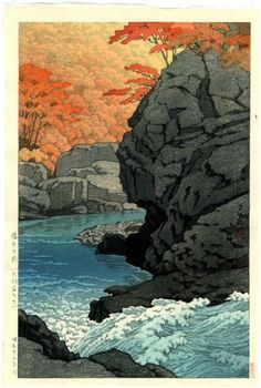 Contemporary Japanese Woodblock Prints | Details about HASUI - Japanese Woodblock Print RIVER RAPIDS IN AUTUMN ...