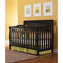 Graco - Stanton 4-in-1 Convertible Fixed-Side Crib, Black. Love the paint color with the bedding.