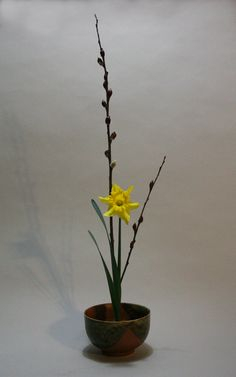 Inoribana with narcissus and pussy willow