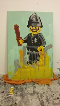 The long (plastic) arm of the law. Acrylic on board.