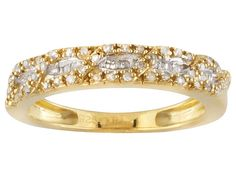.18ctw Round & Baguette Diamond 14k Yellow Gold Over Sterling Silver Ring