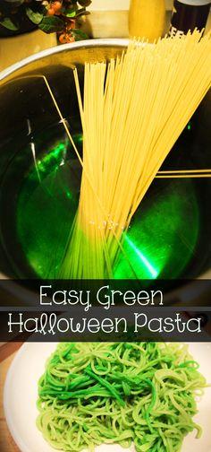 Green Halloween pasta!!