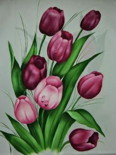 Tulip Painting, Fabric Painting, Watercolor Paintings, Flower Art Drawing, Fabric Paint Designs, Arte Floral, Acrylic Art, Art Drawings, Canvas Art