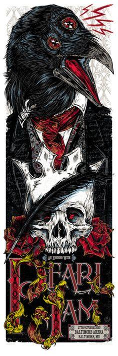 Studio Seppuku - The Art of Rhys Cooper — PEARL JAM - Edgar Allan Poe gigposter - Baltimore MD