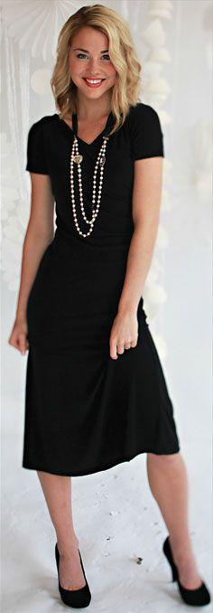 Modest Little Black Dress $54.99 http://www.jenclothing.com/mi-3104-black.html