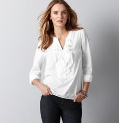 Ann Taylor LOFT... perfect staple top...with capris in warm weather, or throw a fun scarf and cardigan on for fall...