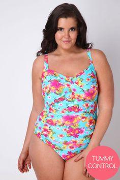 8ec0b69872dc8 Aqua Floral Print Swimsuit With TUMMY CONTROL plus size 16