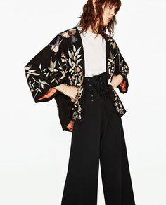 Image 2 of EMBROIDERED KIMONO JACKET from Zara