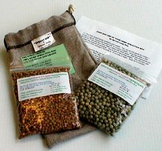 Hemp Bag Kit for Sprouting Beans and Grains • bag is made from 100% hemp •	kit contains 8 oz Green Lentils and 8 oz Green Pea • includes directions for  sprouting beans and grains • very easy to use. Hemp bags are portable so you can take them to work or play! • bag is manufactured in USA • organic and gluten free