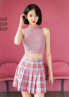 Precious Check Skirt shared by Amber P on We Heart It Plaid Pleated Skirt, Tartan Skirts, Dress Skirt, Skater Skirt, Girl Outfits, Fashion Outfits, Korean Fashion, We Heart It, Amber