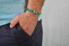 Men's nautical bracelet with silver anchor turquoise by Beh1ndByMK