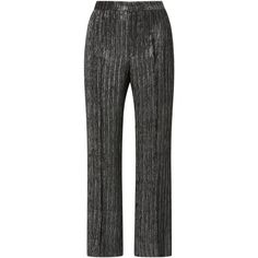 Isabel Marant Dansley Metallic Straight Leg Cropped Pants ($695) ❤ liked on Polyvore featuring pants, capris, silver, flare pants, metallic trousers, flared pants, isabel marant pants and flared trousers