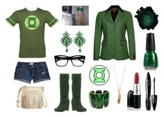"""Green Lantern"" by daniazmouz ❤ liked on Polyvore featuring Even&Odd, Charlotte Russe, Retrò, Tità Bijoux, Amrita Singh, Lancôme, China Glaze and Forever 21"
