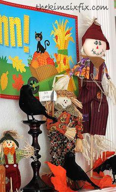 Fall Scarecrow Mantle (Kid Friendly!) via www.TheKimSixFix.com