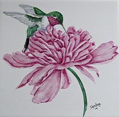 Ruby-throated Hummingbird On Peony Painting